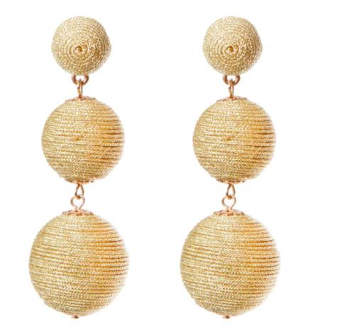 Gold Fabric 3 Ball Drop Pierced Earrings