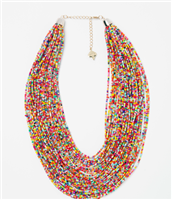 multi-colored beaded layered necklace