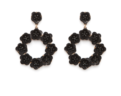 Women's Circle Black Earrings