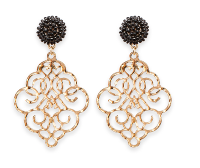 Women's Royal Black Earrings