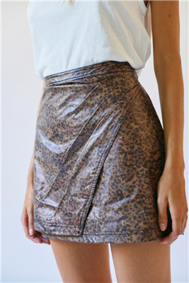 Ladies vegan leather faux wrap mini skirt