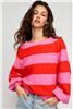 Ladies red and pink cotton pullover sweatshirt