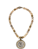17 inch strand of cafe au lait beads with a Saint Anne Medallion surrounded by Swarovski crystals Necklace