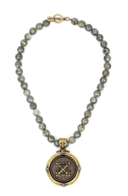 women's necklace is 17 inch strand of gray labradorite with a Centennial X Stack Medallion