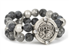 women's 7 3/4 stretch bracelet with black labradorite, cloudy quartz and silver 10 mm beads