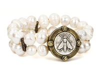 7 3/4 stretch bracelet with 11 mm white freshwater pearls