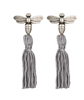 3 inch silver fabric tassel earrings with pendant