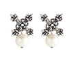 1 inch silver x earrings with pearl