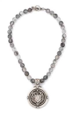 Ladies 17 inch strand of cloudy quartz with a Centennial Hear Stack Medallion Necklace