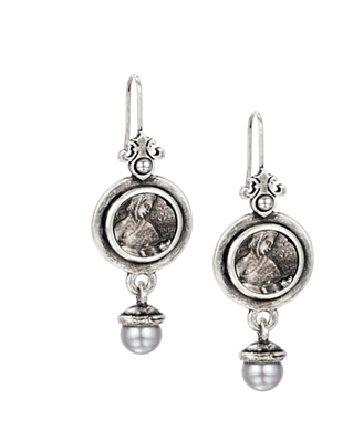 2 inch silver women's medallion earrings with silver pearl drops