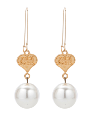 French Kande Pearl & Heart Dangle Earrings