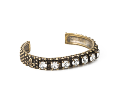 French Kande women's brass cuff bracelet with crystals