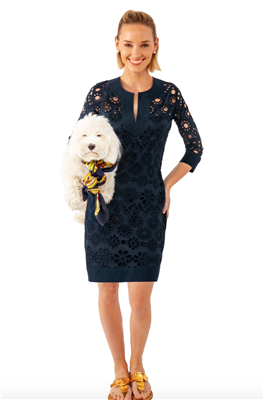 Gretchen Scott Designs women's navy eyelet