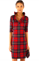 red plaid print jersey dress with ruffle neck collar