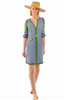 Gretchen Scott Designs women's blue and white gingham dress with lime green embroidery