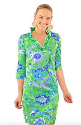 Women's green print jersey dress with ruffle neck collar