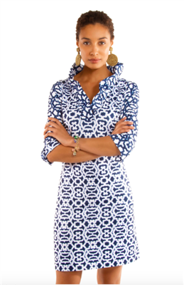 blue and white geometric print jersey dress with ruffle neck collar