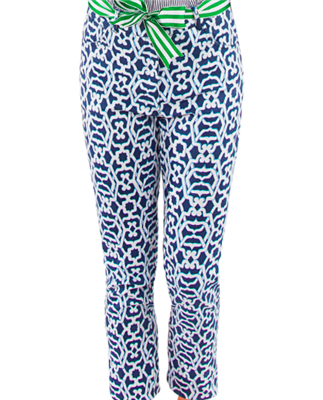 navy and white geometric print stretch pants