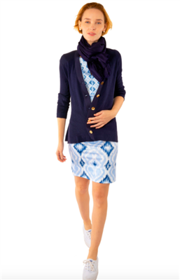 women's long navy button front cardigan