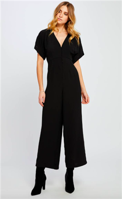 ladies black short sleeve jumpsuit with v-neck button front