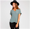 ladies short sleeve button up front top in balsam