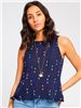 ladies rayon tank top in navy with a peplum and blush embroidery