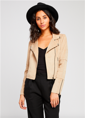 ladies faux suede moto jacket in sand