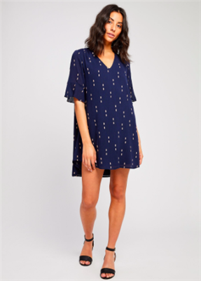 Gentle Fawn ladies navy short sleeve v-neck dress