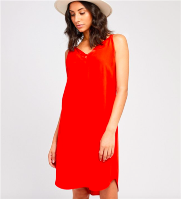 ladies red midi dress with v-neck and adjustable straps