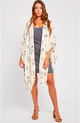 ladies viscose kimono scarf in tan floral