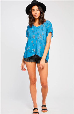 ladies casual blue floral top