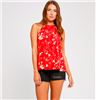 ladies rayon tank top in red with cream flowers