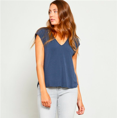 ladies short sleeve top in shadow blue