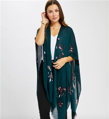 ladies viscose kimono scarf in green floral