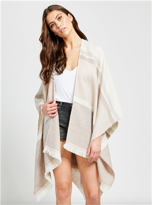 ladies acrylic kimono scarf in cream wide stripe