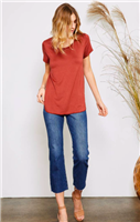 ladies short sleeve rayon terracotta t-shirt