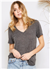 ladies short sleeve v-neck gray top