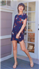 ladies navy floral shirt dress with rounded hem and open shoulders