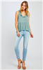 ladies polyester mint green ruffle top