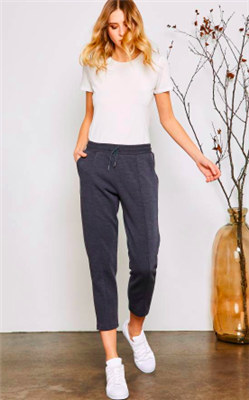 ladies jogger pants with elastic waist and front pockets in storm blue