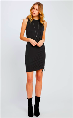ladies black sleeveless dress with cinch tie on the side