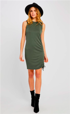 ladies spruce green sleeveless dress with cinch tie on the side