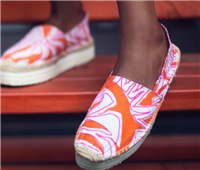 orange canvas print espadrilles