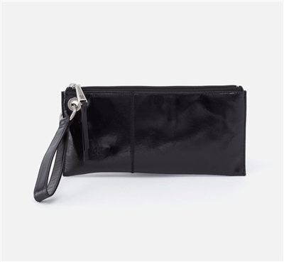 ladies top zip leather wristlet in black