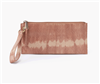 ladies top zip leather wristlet in desert tie dye