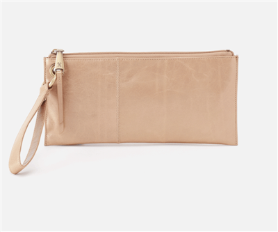 ladies top zip leather wristlet in gold dust