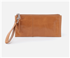 ladies top zip leather wristlet in Honey