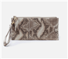 ladies top zip leather wristlet in platinum shimmer