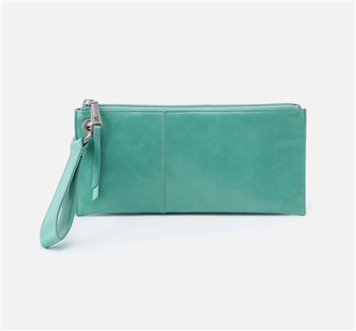 ladies top zip leather wristlet in seafoam green