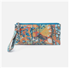 ladies top zip leather wristlet in summertime abstract print